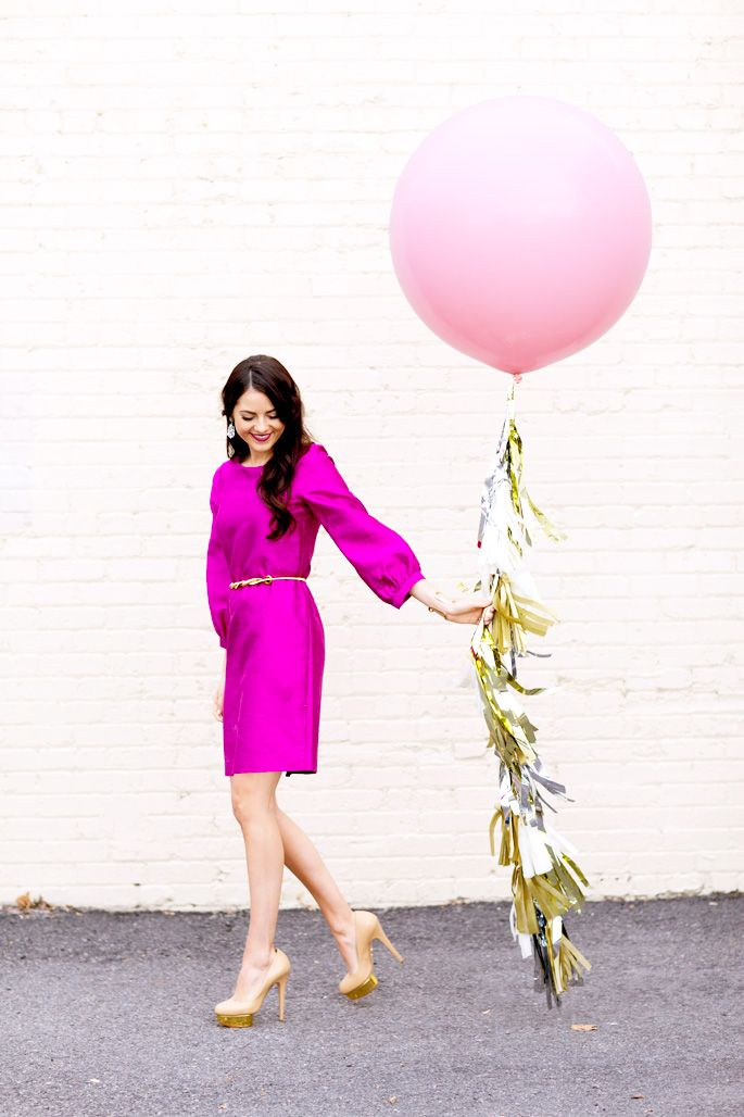 Bright pink is a fun spin on traditional holiday attire.