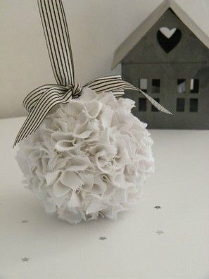 Tissue balls - with ribbon for end aisle chairs