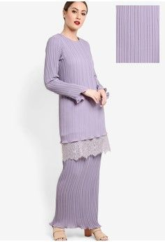 Ava Pleated Kurung from FZK for ZALORA in purple_1