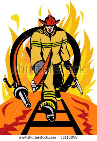 Fireman walking out from burning fire  with ax , spear hook and fire hose. #firefighter #retro #illustration