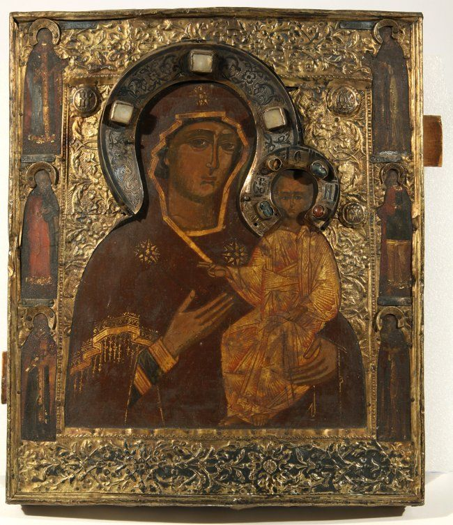 old russian icon   146: AN OLD BELIEVERS RUSSIAN ICON OF THE KAZANSKAYA MO : Lot 146