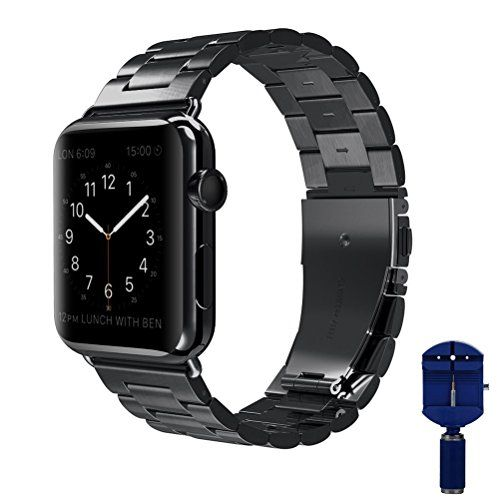 Apple Watch band VIPPLUS iWatch Band Stripe Stainless Steel Strap Wristband Replacement Bracelet with Durable Folding Metal Clasp for Apple Watch Series 3/2/1 42mm Black