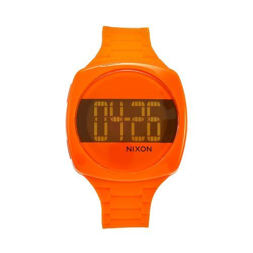 This stylish timepiece by #Nixon offers a plastic case and orange rubber strap. The orange dial includes digital minutes, hours and date. The trendy timepiece in...