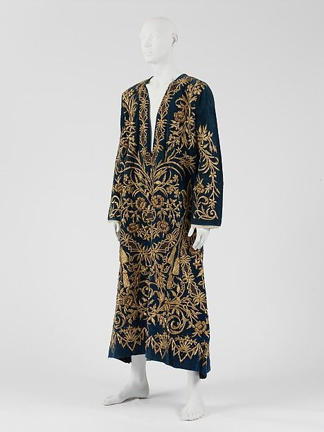 Turkish teal blue silk robe, gold embroidered - early 19th century