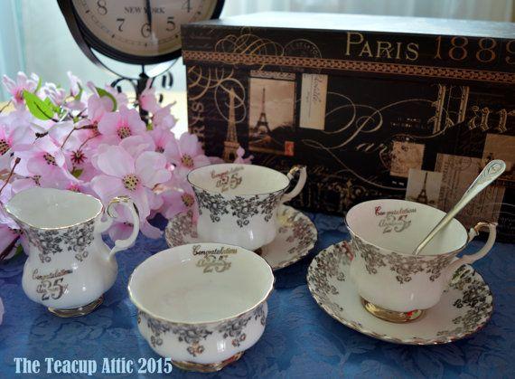 Royal Albert 25th Silver Anniversary Tea Time by TheTeacupAttic