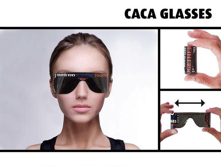 De Caca Glasses: Een zelf oprolbare bril die ook nog eens goed bedrukt kan worden.   Blijft (zonder plakken) perfect zitten op het gezicht!   Ideaal om altijd in de auto te hebben, of om uit te delen op festivals, golftoernooien etc.