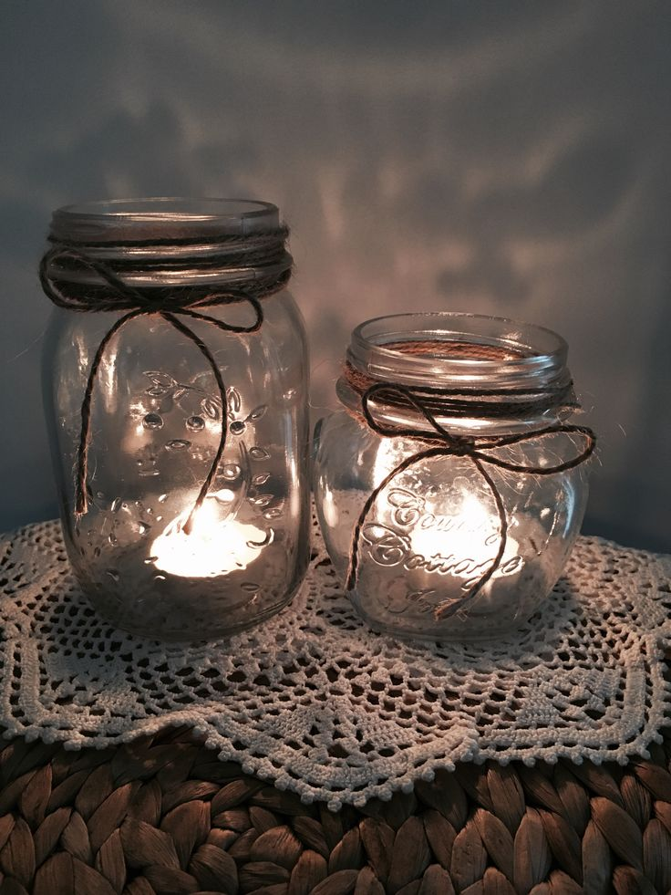 Cute DIY mason jar with twine wrapped around the top. Simple and easy to make and perfect for weddings, engagements or just decorations around the house. Made by Chrissy x Sassy Creative Design