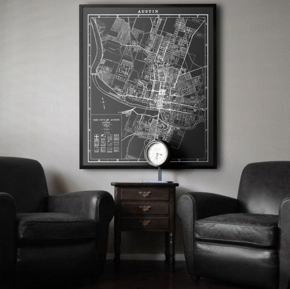 A beautiful reproduction vintage Austin map print from 1925. The high detailed print features gridded streets that shows the abstract beauty of the cartographers hand drawn art work. These black and white prints were adapted from detailed scans of original vintage maps and give you