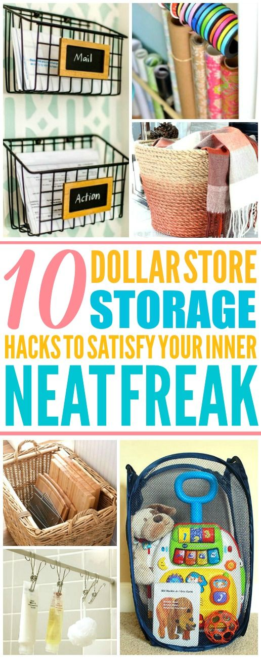 These 10 dollar store storage hacks for every room are THE BEST! I'm so glad I found these AWESOME tips! Now I have great ways to keep my home clean and organized! Definitely pinning!