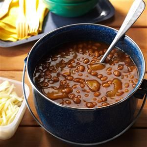 "Root Beer Apple Baked Beans Recipe -All nine men in our family love roughing it outdoors. My beans with bacon and apples is a ""must "" to keep their outdoor energy going. —Nancy Heishman, Las Vegas, Nevada"