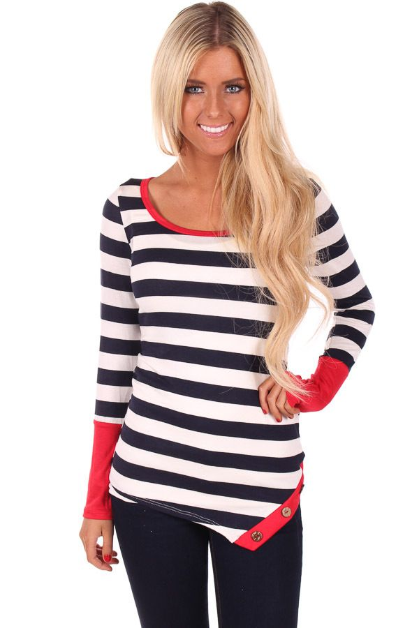 Lime Lush Boutique - Navy Striped and Red Cuff Detail Top, $28.99 (http://www.limelush.com/navy-striped-and-red-cuff-detail-top/)