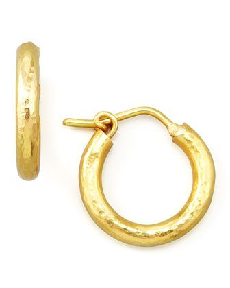 """Elizabeth Locke Big Baby Hammered 19k Gold Hoop Earrings, 1/2"""""""