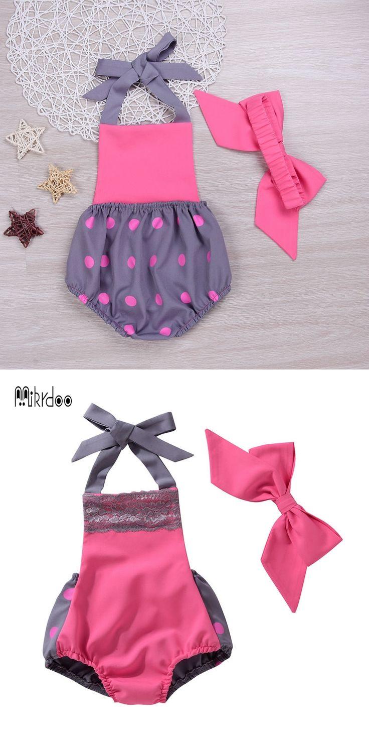 2017 Cute Newborn Baby Girl Polka dot Romper Infant Toddler Bow Backless Lace Playsuit Sunsuit Clothing Set 2PCS sport suit