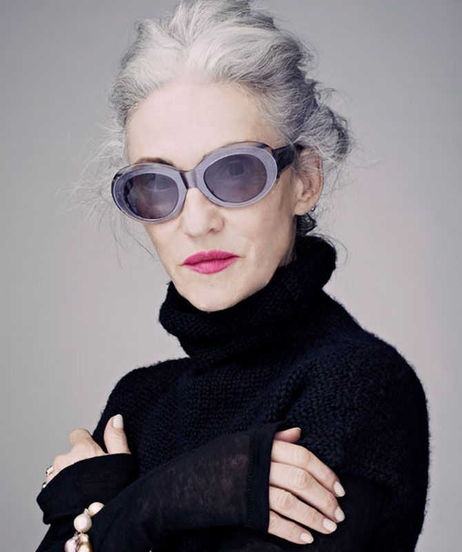 "Linda Rodin. Lipstick, glasses. ""She recently told Bazaar in the US "" I'm not a big make up fan but I wear pink lipstick because it looks wonderful with my hair colour, ..."""
