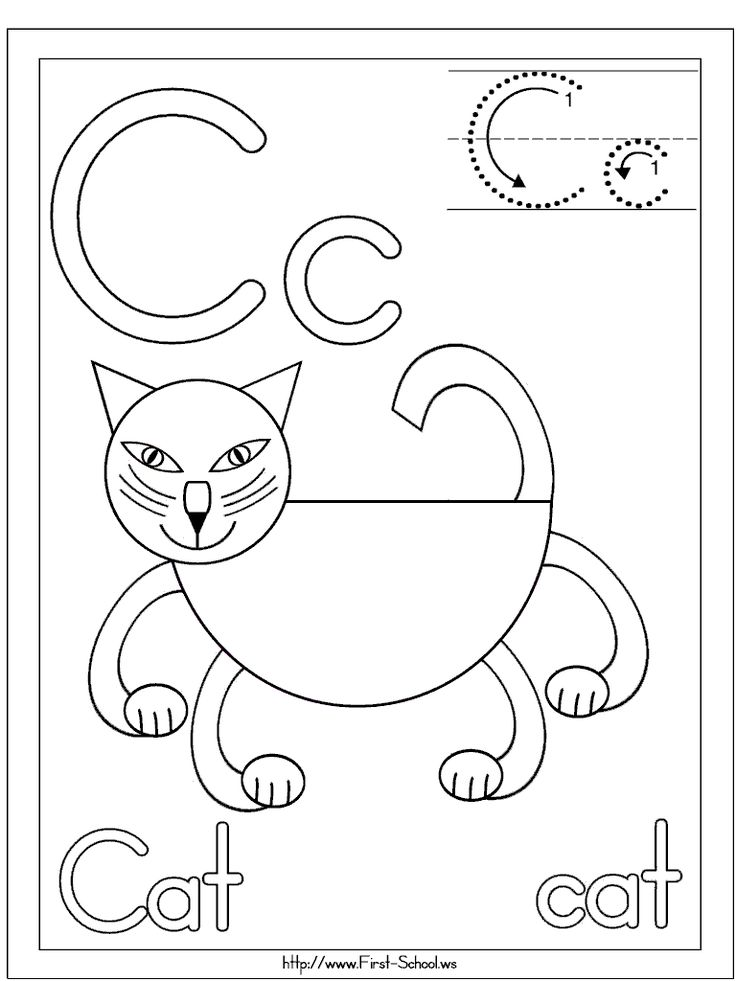 C cat coloring page for C week. Letter c activities