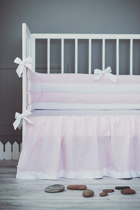 Pink white crib bumper with bows - Cot bumper for baby girls nursery  Bedding set is made from highest quality 100 % cotton. Please Pick a bumper