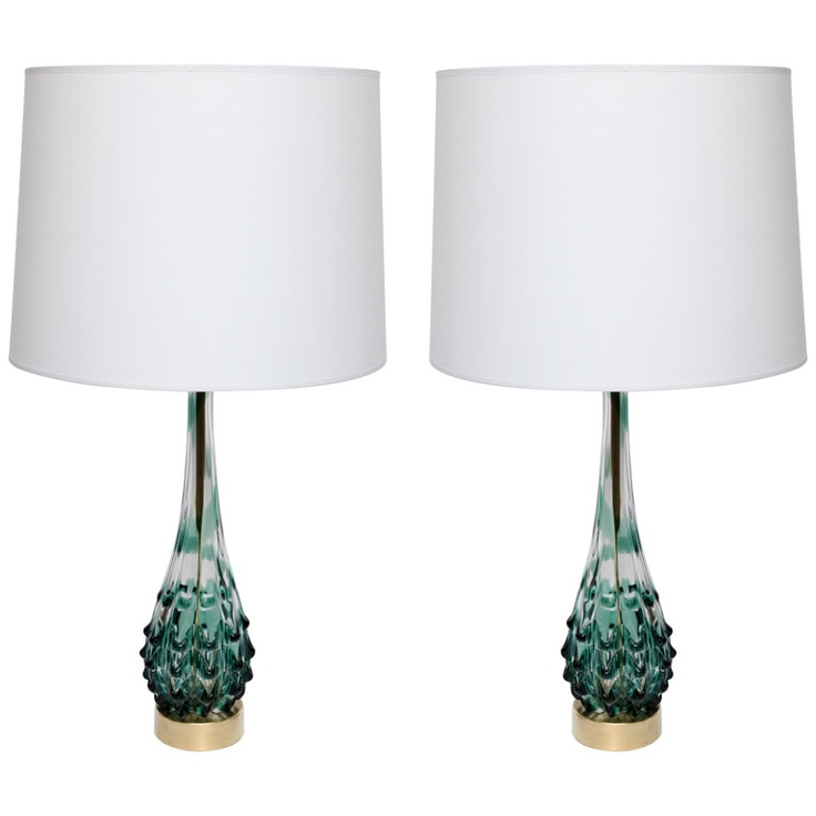 Italy 1950u0027s A Pair Of Italian Art Glass Table Lamps By Seguso.