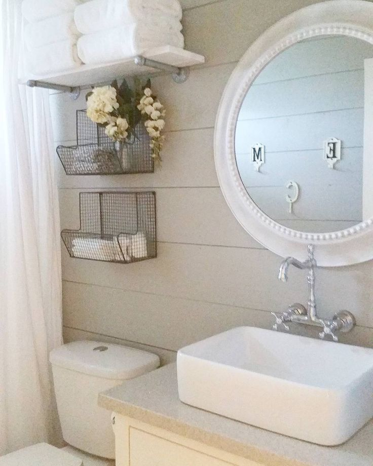 farmhouse bathroom remodel, DIY, shiplap... Before and after of our DIY remodel on our hall bath. We used Sherwin Williams Mindful Gray, shiplap, ikea hemnes vanity with a gray quartz top,  Kraus vessel sink, Lowe's mirror and hobby lobby baskets