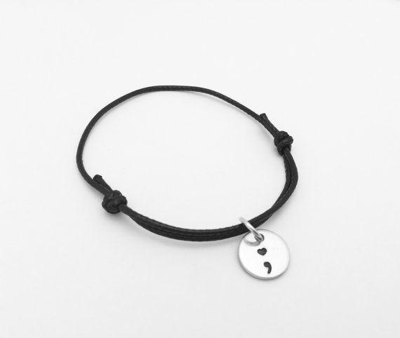 Heart Semicolon Cord Bracelet - ; My story isn't over yet - Suicide awareness - mental illness awareness - Project Semicolon - Semi Colon