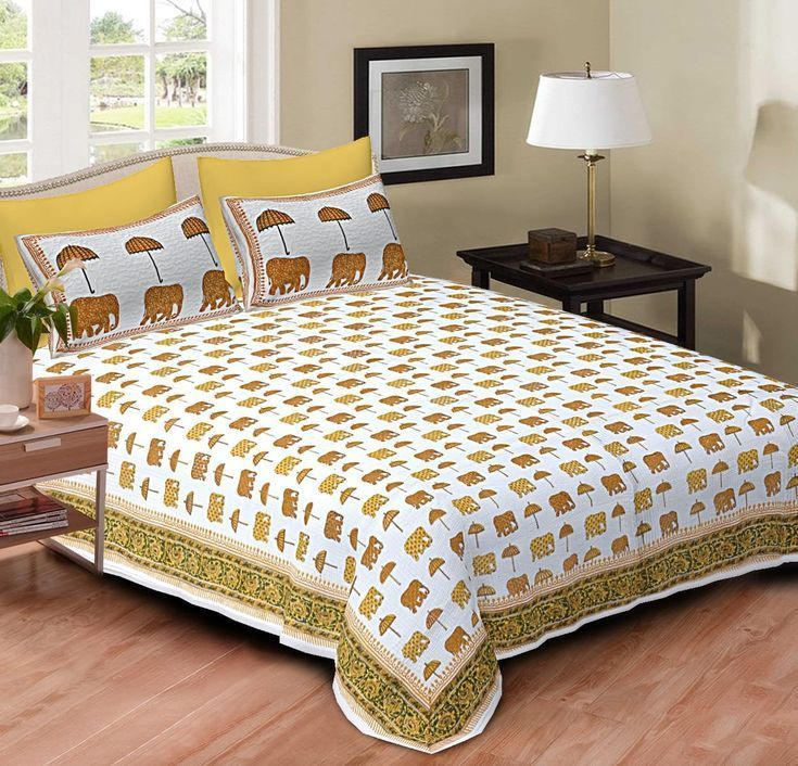 Elephant Design Sheet And White Cotton Double Bed White Block