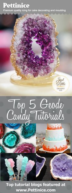 Top 5 Geode Rock candy tutorials. Includes links to all the edible geodes and rock candy tutorials at the Pettinice.com website.