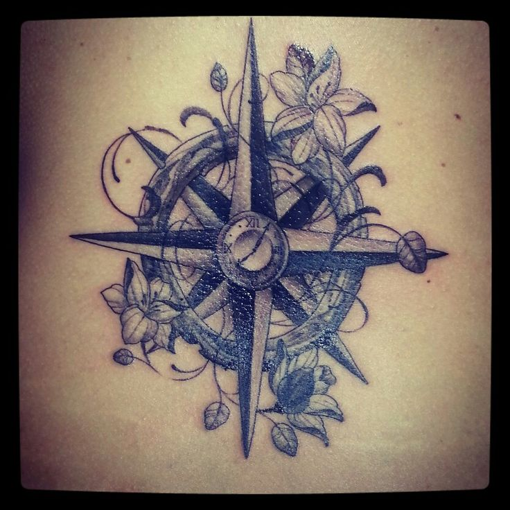compass tattoo with clock not a fan of the flowers but love everything else time place for. Black Bedroom Furniture Sets. Home Design Ideas