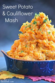 Sweet Potato and Cauliflower Mash - Thanksgiving comfort with extra nutrition! A healthy addition to your holiday entertaining menu