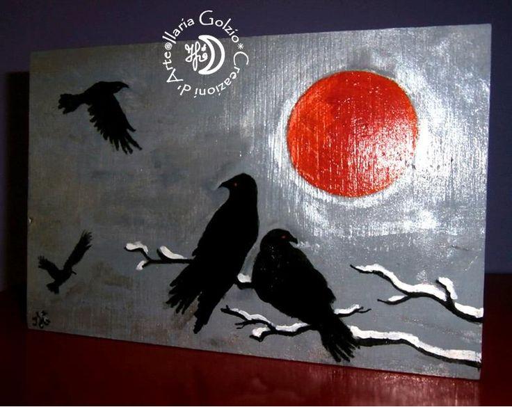"""""""CROWS"""" - Tavola in legno dipinto, si può appendere o appoggiare - Cm20 x 13,5 H x 3"""