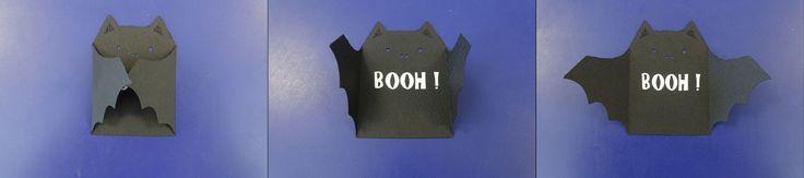 """Petite chauve-souris qui dit """"BOUH !"""" réalisée à la Silhouette à zBis (sticker + papier)"""