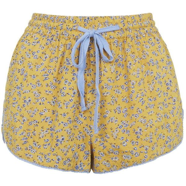 TOPSHOP Ditsy Floral Print Pajama Shorts ($26) ❤ liked on Polyvore featuring intimates, sleepwear, pajamas, shorts, mustard, topshop, pjs and pyjamas
