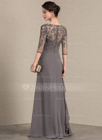 032dd90bf2a A-Line Princess V-neck Floor-Length Chiffon Lace Mother of the Bride Dress  With Cascading Ruffles (008143355) - JenJenHouse