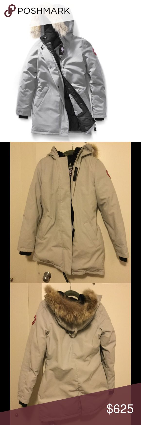 Canada Goose Light Grey Parka Perfect condition Canada Goose Victoria Parka jacket in Light Grey. NEVER WORN! Color is called Limestone on the Canada Goose website. Fur hood can zip off/be removed. Canada Goose Jackets & Coats Puffers