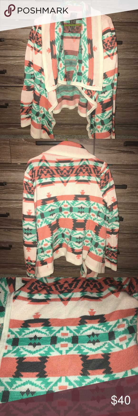 Drape Front Aztec Print Cardigan Only worn once, Comfy  with a cute bold print Sweaters Cardigans