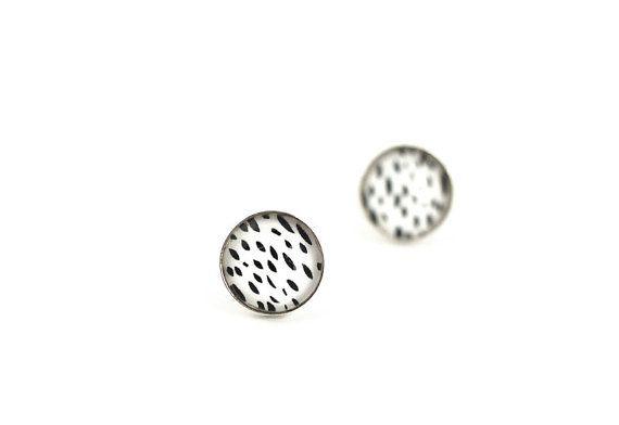 Sterling Silver  Art Stud Earrings Art Jewelry by evartstudio