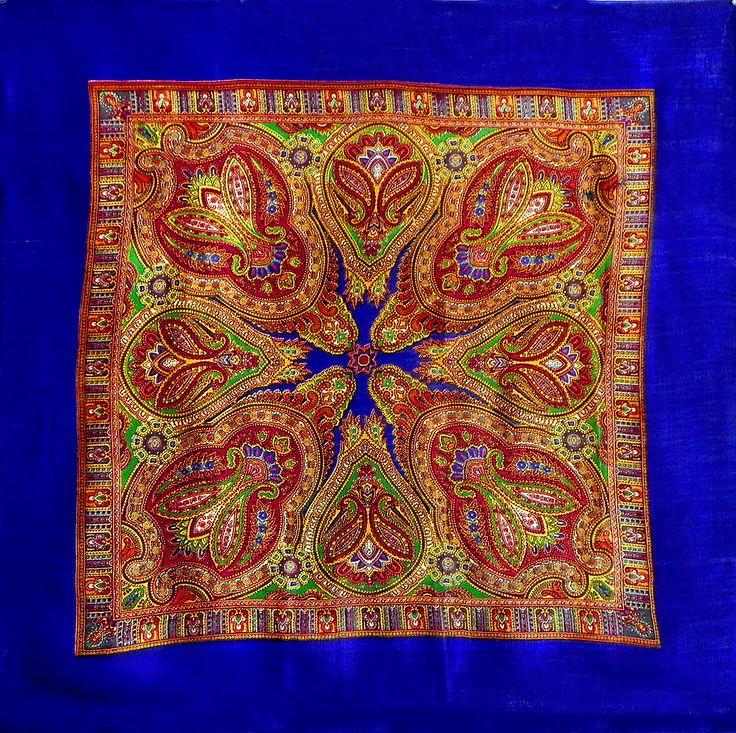 Colorful Paisley Print on Blue Light Woolen Head Scarf (Light Woolen)