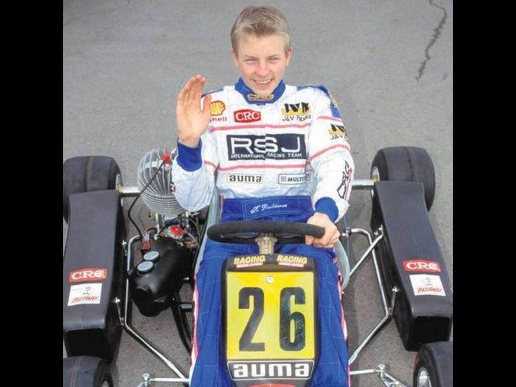 Kimi smiling in his Go kart