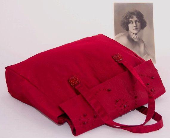 Red satin evening Purse embroidered  handbag by LoveThirties