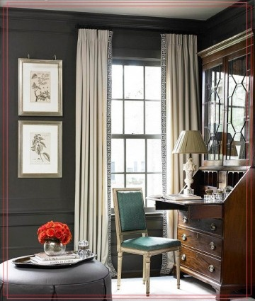 The Secretary Is Such A Great Piece Of Furniture Greek Key Trim On Curtains And Gray Walls Make E More Modern
