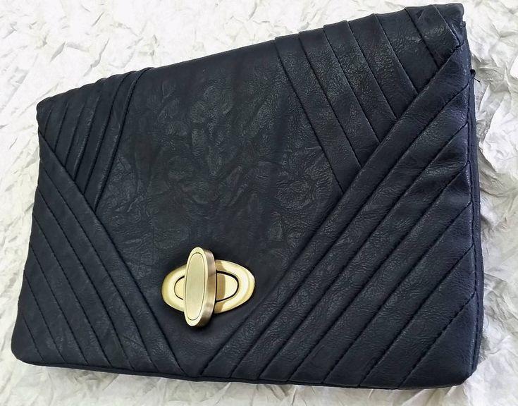 Foldover Envelope Clutch Bag, Navy Blue Vegan Leather, Floral Self Embossed
