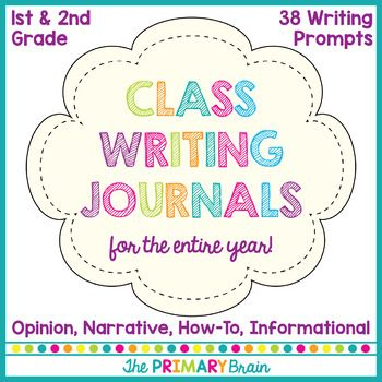 Bundle includes 38 whole class writing journal covers for you to use throughout the year. Journal covers include topics for opinion, how-to, informational, and narrative writing topics. Directions and sentence frames are given on the front of each cover