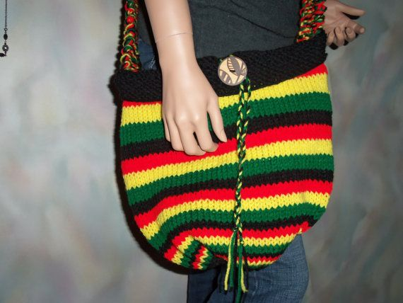 Hand Knitted Rastafarian Hobo Boho Bag Yellow Red Green Black Jamaican Colors