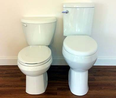 Convenient Height Toilet. The bowl is 5-inch taller than a standard height toilet and 4-inch higher than an ADA compliant toilet or comfort height toilet.  Click Visit to find out more of its features and benefits.