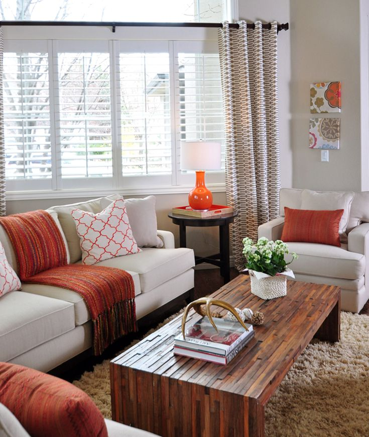 orange and taupe living room by Judith Balis: shag rug, linen sofa, @Jonathan Louis