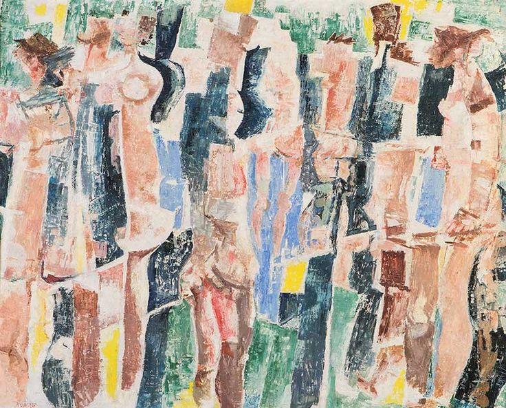 """thunderstruck9: """"Fausto Pirandello (Italian, 1899-1975), Bagnanti concave e convesse [Concave and convex bathers], c.1957. Oil on board, 93 x 117 cm. """""""