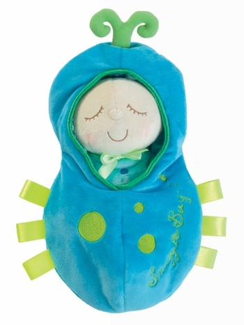 Our Snuggle Bug Snuggle Pod Soft Doll from is a super soft, stunningly sweet, simply superb first doll for baby. This silky soft baby doll with a heavenly-happy expression comes snug as a bug, tucked into a touchably-soft bug pod. Ages 6 months & up. $18