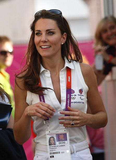 Duchess Kate: Kate in Sleeveless White Top and Denim Skirt for Team GB Hockey
