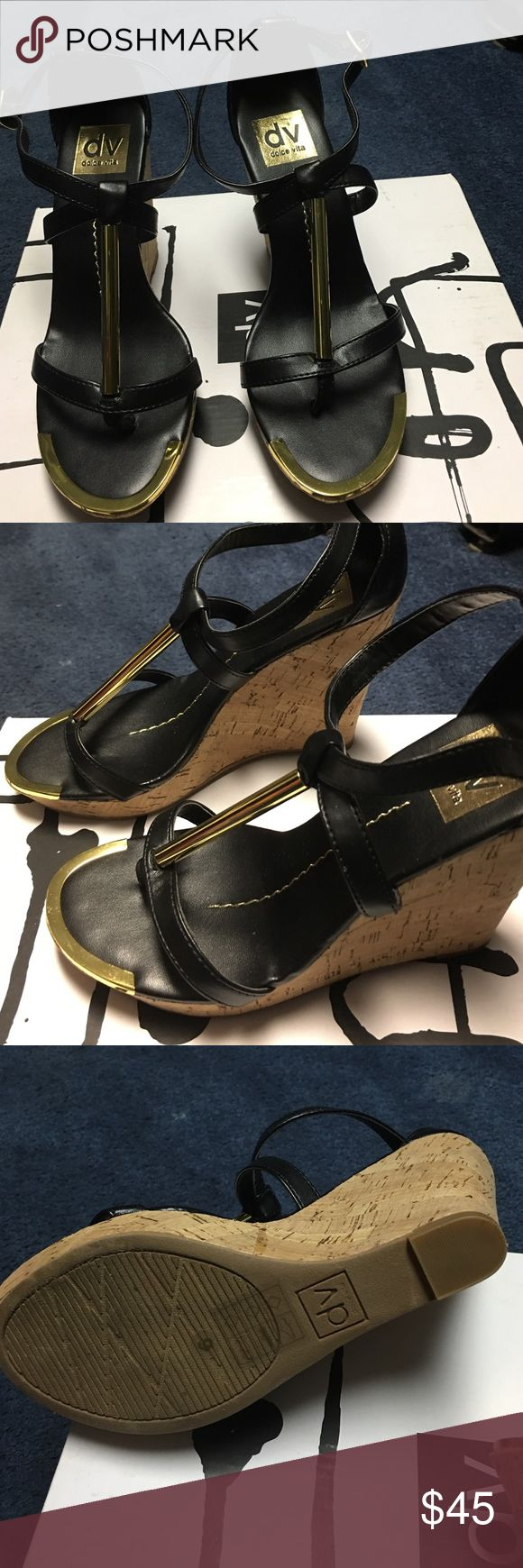 """New Dolce Vita Black Wedge. Gold tone accent. 6 Eye catching 4"""" wedges. Gold tone accents will make any outfit """"pop"""" - especially if all black. Size 6. Never Worn- As New Condition Dolce Vita Shoes Wedges"""