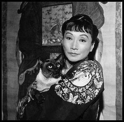 Anna May Wong and her seal point Siamese.  She was the first Chinese American movie star and also the first Asian American actress to gain international recognition. Her long and varied career spanned silent film, sound film, television, stage and radio.