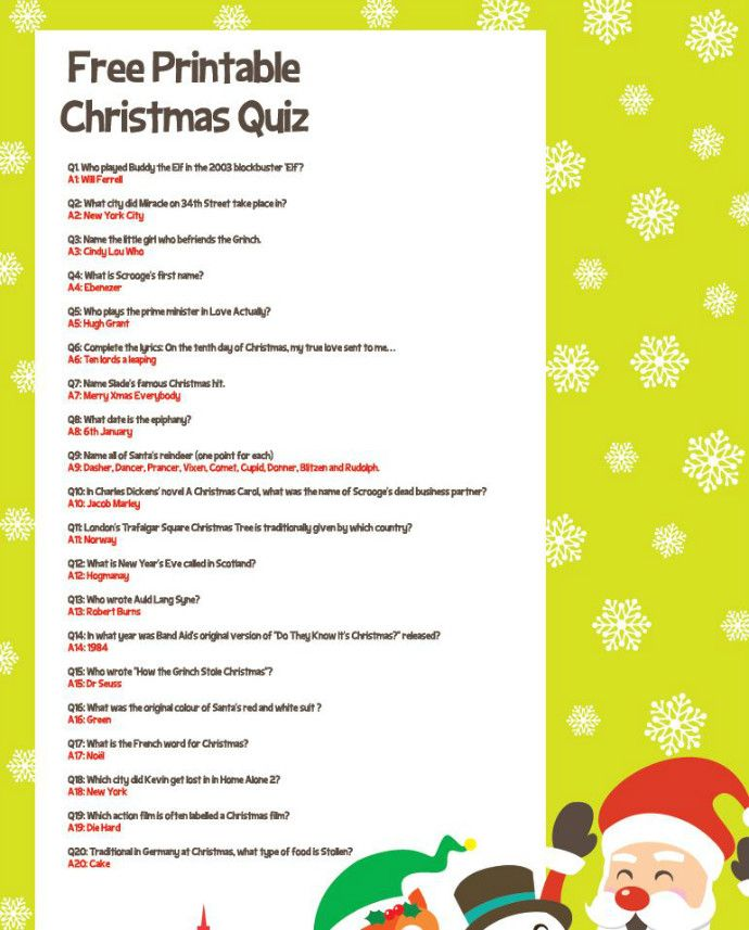 Try Our Free Christmas Quiz For All The Family   Christmas ...