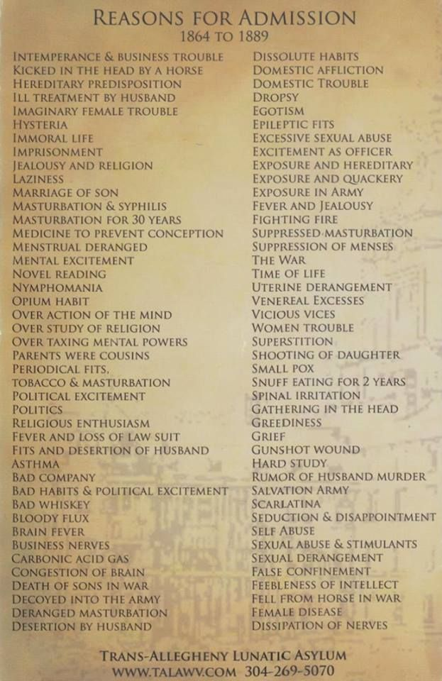 Reasons for admission to lunatic asylum, 1864-1889.